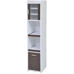 JKプラン 食器棚 ホワイトダークブラン 32.5×42.5×161cm FKC-0532-WHDB