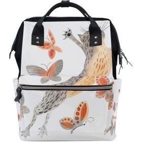 ママリュック ねこ 蝶 かわいい ミイラバッグ デイパック レディース 大容量 多機能 旅行用 看護バッグ 耐久性 防水 収納 調整可能 リュックサック 男女兼用