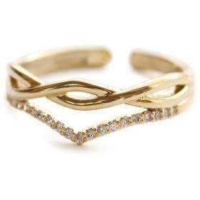 ニッケルフリー フリーサイズ 2タイプ キュービックジルコニア リング 指輪 金属アレルギー対応 JewelVOX(ジュエルボックス) 【B】ゴールド