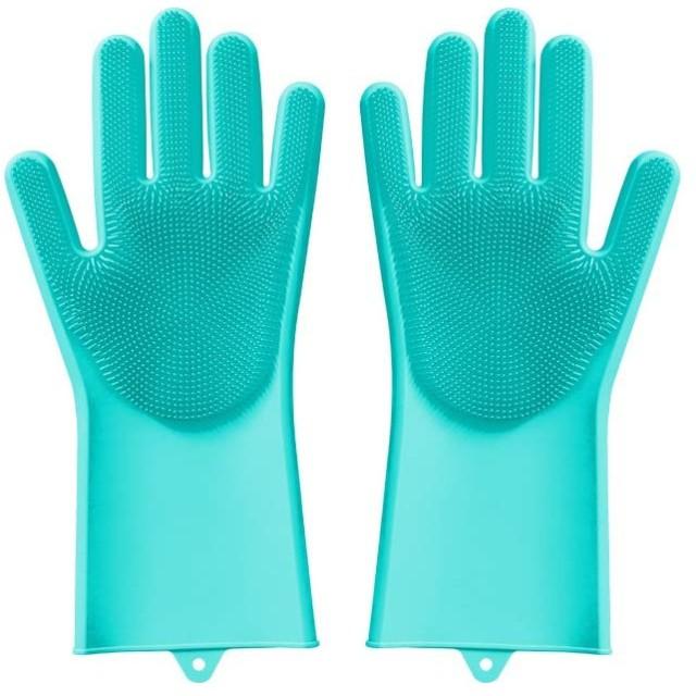 Shengshihuizhong 魔法のシリコーン食器洗い手袋、女神の台所多機能ブラシボウルは手袋を傷つけない、反ハウスキーピング耐久性のある振動水、ピンク、グリーン 食器洗い機用手袋 (Color : ピンク)