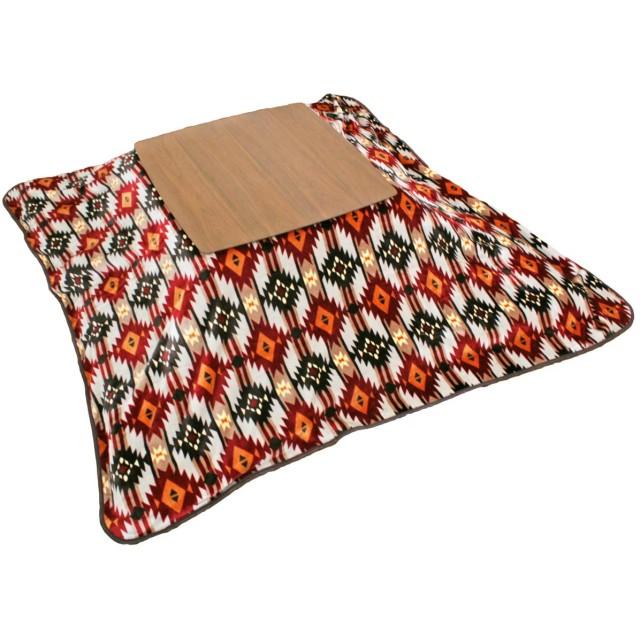 こたつ毛布 キリム柄 正方形 200×200cm マルチカバー こたつ ブランケット 毛布 こたつカバー 上掛け なかがけ (レッド)