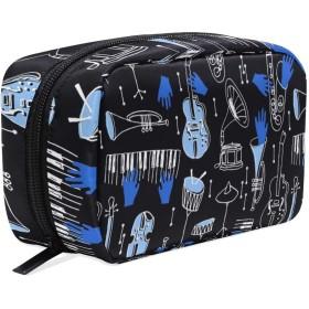 ミュージカル ジャズ 化粧ポーチ メイクポーチ 機能的 大容量 化粧品収納 小物入れ 普段使い 出張 旅行 メイク ブラシ バッグ 化粧バッグ