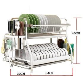 PENGFEI キッチン収納りキッチンラック収納棚スパイスクッカーシェルフ フロアスタンド 多機能 プレート ナイフとフォーク ドレイン ブラケット ステンレス鋼 レイヤ2/3 2サイズ ( 色 : 54x30x46CM )