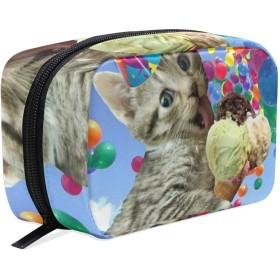 アイスクリーム 猫 化粧ポーチ メイクポーチ 機能的 大容量 化粧品収納 小物入れ 普段使い 出張 旅行 メイク ブラシ バッグ 化粧バッグ