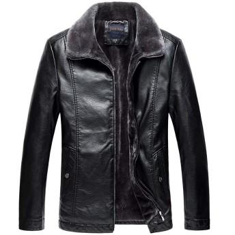 [eleitchtee] 革ジャン レザーコート メンズ 大きいサイズ レザージャケット 毛皮コート 革ジャケット 裏起毛 防寒着 008-qtnz3003-7608(3XL ブラック)