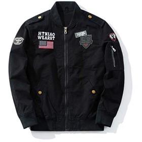 送料無料ジャケット ミリタリー フライトジャケット人気ワッペンMA-1刺繍ミリタリージャケット フライトJKT メンズ ファッションアウター (2XL, ブラック)
