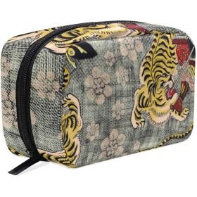 和風 虎 化粧ポーチ メイクポーチ 機能的 大容量 化粧品収納 小物入れ 普段使い 出張 旅行 メイク ブラシ バッグ 化粧バッグ