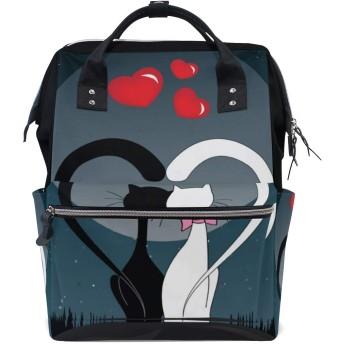 ママバッグ マザーズバッグ リュックサック ハンドバッグ バレンタインデー 黒と白 猫柄 用品収納 旅行用 大容量 多機能 出産祝い