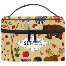 北の森の動物コスメポーチ 化粧収納バッグ レディース 携帯便利 旅行 誕生日 プレゼント