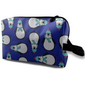 メイクポーチ かわいいペンギン トラベルポーチ シングルファスナーポーチ 大容量 トラベル コンパクト 旅行収納バック 化粧品収納 便利グッズ 旅行・出張・家庭用