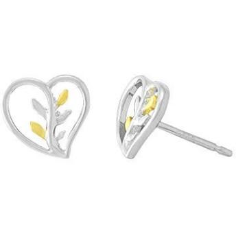 Boma Jewelry スターリングシルバーハート&14カラット。 ゴールド バーミル ヴァイン スタッドピアス