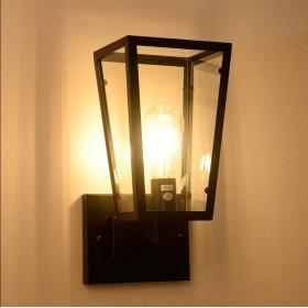 壁付け照明 アメリカのノスタルジックな工業用風 ウォールライト 現代 ガラス LED 照明器具 玄関 壁ランプ、錬鉄の創造的な階段 通路 ホワイエの装飾 壁掛けランプ ブラケットライト (D)