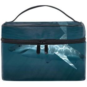 便携式サメ水中 メイクボックス 收納抜群 大容量 可愛い 化粧バッグ 旅行