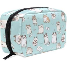 CW-Story 可愛い猫 大容量化粧ポーチ コスメバッグ ファスナー シンプル 旅行 機能的 小物入れ 化粧道具