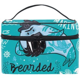 Cartoon Bearded Walrus化粧ポーチ メイクポーチ コスメポーチ 化粧品収納 小物入れ 軽い 軽量 防水 旅行も便利