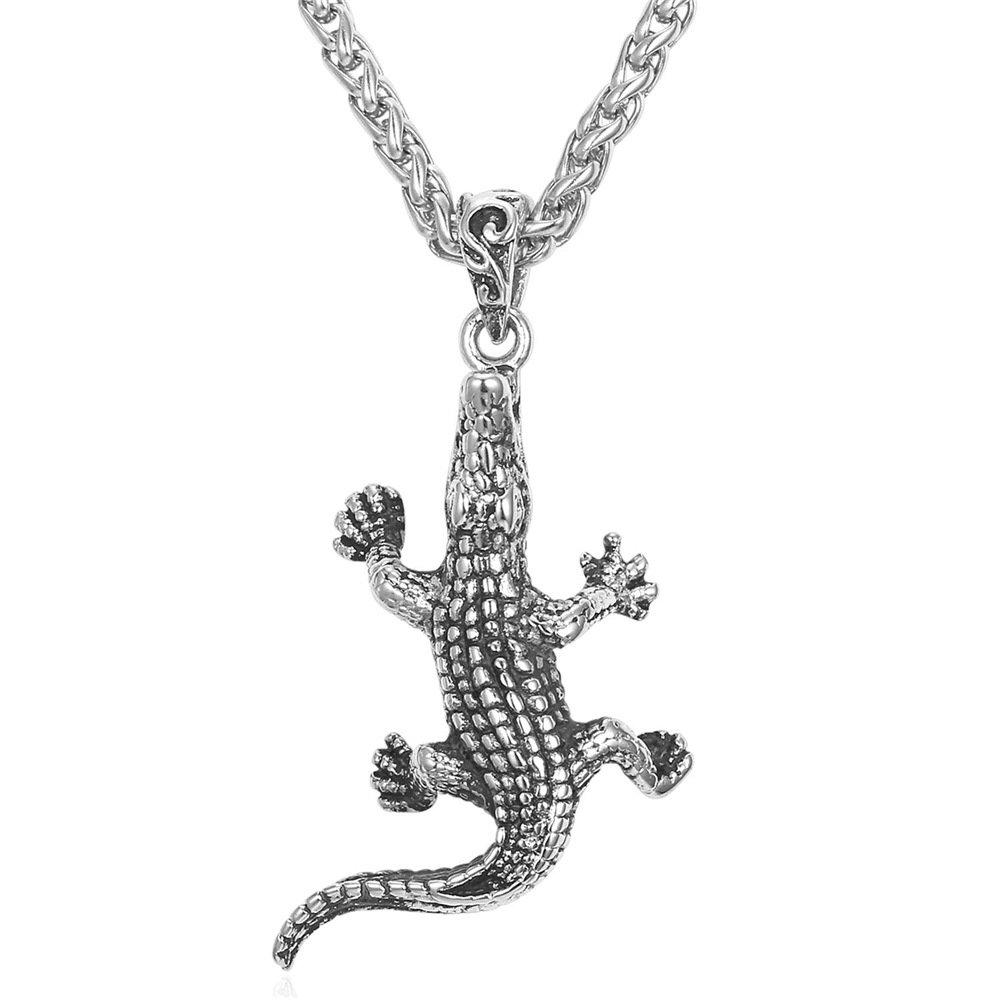 CS-DB Punk Black Cubic Zirconia Rhinestone Gecko Lizard Silver Necklaces Pendants /& Top Stylish