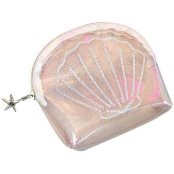 レディース 透明 PVC 化粧 ポーチ バスルーム 収納 スクエア 貝殻 ショルダー ハンド バッグ