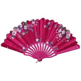 絹 シルク 扇子 、 和風扇子折りたたみ式工芸品扇ユニセックス猛暑対策ユニセックス (ホトピンク)