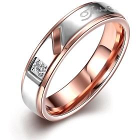 Rockyu ブランド ハワイアンジュエリー リング レディース チタン ダイヤ k18 ピンクゴールド 金 指輪 True love