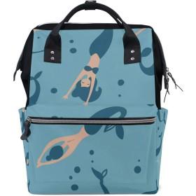ANNSIN マザーズバッグ ママバッグ リュック バックパック ハンドバッグ 3WAY 多機能 防水 大容量 軽量 シンプル おしゃれ ベビー用品収納 出産準備 旅行 お出産祝い 人魚 美しい