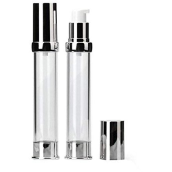 2PCS 30ml/1oz Plastic Airless Pump Bottle Vacuum Travel Container Make up Dispenser with Silver Aluminum Cap and Internal Pressure Plug for Cream Lotion Emulsion Empty Refillable [並行輸入品]