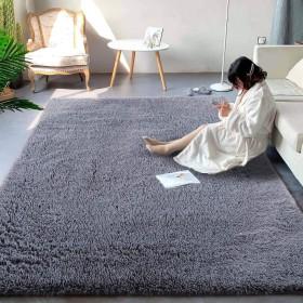 ラグ カーペット 洗える ラグマット 絨毯 防ダニ 滑り止め付き130×200cm 8色選べる夏 冷房対応 ふわふわ 長方形 センターラグ オールシーズン適用 グレー
