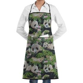 Pandas In Flowers エプロン カフェエプロン ビブエプロン キッチンエプロン 花柄胸当て 前掛け 腰巻 H型 ロング キッチン カフェ 飲食店 保育士 男女兼用 シンプル かわいい おしゃれ 人気 北欧