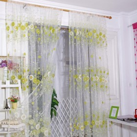Kukiwa薄手 シェードカーテン ひまわりのカーテン 目隠し効果 外線カット 遮光断熱効果 可愛いカーテン 2枚100 x 200cm 装飾ホーム ウインドウ窓 寝室 居間 子供の部屋用  (A, 100 x 200cm)