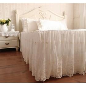 ベッドスカート 綿100% スカート部分が二層 外層がシフォン 刺繍模様 アイボリー (シングル)