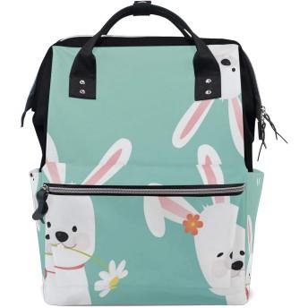 ママリュック ウサギ 可愛い ミイラバッグ デイパック レディース 大容量 多機能 旅行用 看護バッグ 耐久性 防水 収納 調整可能 リュックサック 男女兼用