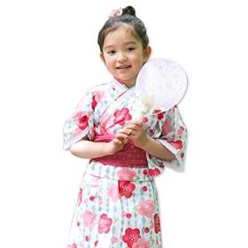 浴衣 子供 セット キッズ ベビー ドレス サンドレス セパレート 花柄 帯セット Pinky Flash 桜赤 80cm 3357090607PI80