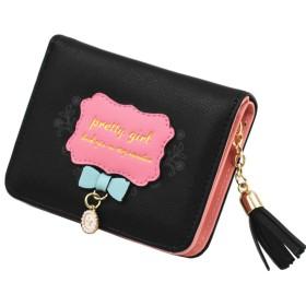 レディース 二つ折り財布 PUレザー かわいいデザイン 小銭 カード 入れ ウォレット(Black)