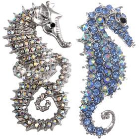ブローチ ヴィンテージ ラインストーン飾り 海馬型デザイン ブローチピン シルバー ブルー 2個セット