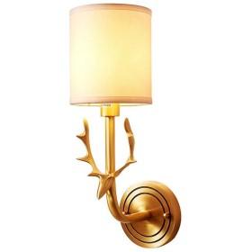 ウォールランプアメリカの素朴な壁の燭台生地シェード北欧シンプルな寝室夜の光読書ライトウォールマウント真鍮ベース,P
