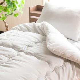 【柔らかくボリュームある布団4点セット】(ダブルサイズ) 桃のような優しい肌触りが特徴 届いてすぐ使える寝具布団セット(掛け・敷き・枕) ほこりが出にくい布団 軽くて快適掛け布団 (ホワイト色) ホワイト ダブル