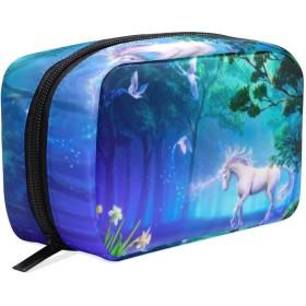 ユニコーン ジャングル 化粧ポーチ メイクポーチ 機能的 大容量 化粧品収納 小物入れ 普段使い 出張 旅行 メイク ブラシ バッグ 化粧バッグ