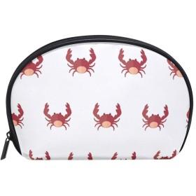 半月型 カニ柄 動物柄 ビーチ海柄 化粧ポーチ コスメポーチ コスメバッグ メイクポーチ 大容量 旅行 小物入れ