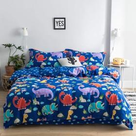 純粋な綿漫画寝具4ピース目に見えないジッパーベッドカバーシーツワイドサイド枕カバー用ホーム子供学生寮の部屋-T-a