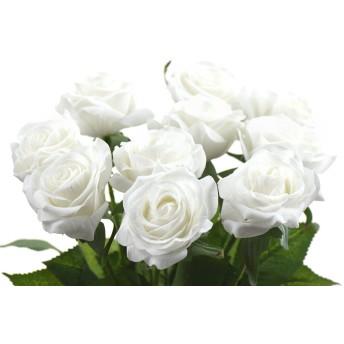 FiveSeasonStuff 造花 バラ 生花みたい リアルな手触り お祝い 飾り 生け花 結婚式 枯れない 多色選択 DIY 10枚入り 白色#1