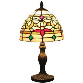 バロック8インチテーブルランプ珠飾り花柄ステンドグラスランプ手描き手作りティファニーランプ LED 対応