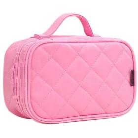 HOYOFO 化粧ポーチ コスメ収納 おしゃれ 化粧品 ブラシ入れ 旅行 防水 2段式 キルト かわいい ピンク M