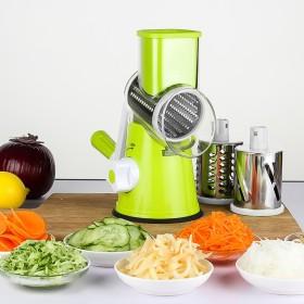 ステンレス 多機能 調節可能 野菜カッター キッチンカッター スライサー フードシュレッダー 三つのカット選べる グリーン ハンドルで操作手動式ベジタブルカッター