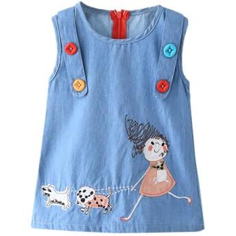 Urmagicデニムタンクドレス ベビー服 ガールズ ノースリーブ 夏 薄い 刺繍 ワンピース ファッション 可愛い スカート 子供服
