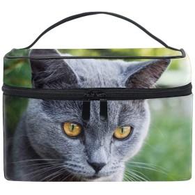 収納ポーチロシアの青猫の肖像画グレー短髪 旅行 便利 防水 大容量 超軽量 おしゃれ かわいい
