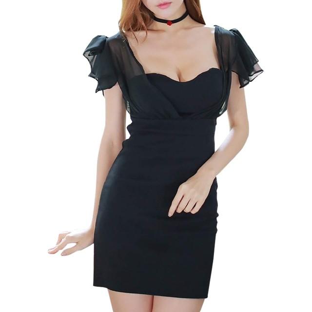 [R-Dream] ボディコン ワンピース ミニ ドレス 肩 フリル ショルダー セクシー キャバドレス ミニスカ タイト ワンピ 黒 ブラック (3. Lサイズ)