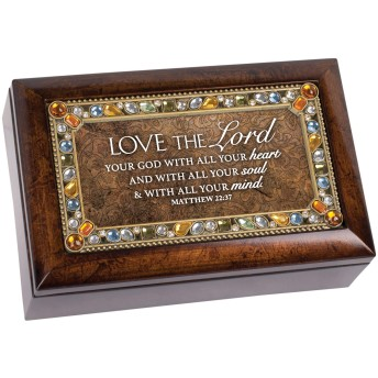 Cottage Garden Love Lord With Heart Soul Mind Amber Jewelled Petite Music Box Plays Amazing Grace