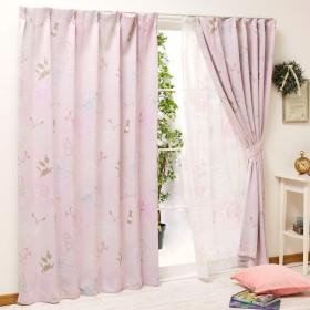 Disney(ディズニー) アリス 2級 遮光 カーテン レースカーテン 4枚セット ピンク 幅100x135cm丈 [SB-420]