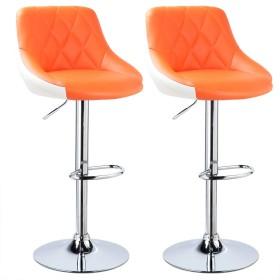 調節可能なバースツール、朝食レストランスツールキッチンカウンターハイスツール人工皮革外観回転ガスリフトクロム鋼フットスツール高さ60〜80センチ (色 : Orange2)