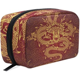 中国の龍 化粧ポーチ メイクポーチ 機能的 大容量 化粧品収納 小物入れ 普段使い 出張 旅行 メイク ブラシ バッグ 化粧バッグ