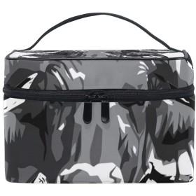 メイクボックス 野獣柄 化粧ポーチ 化粧品 化粧道具 小物入れ メイクブラシバッグ 大容量 旅行用 収納ケース